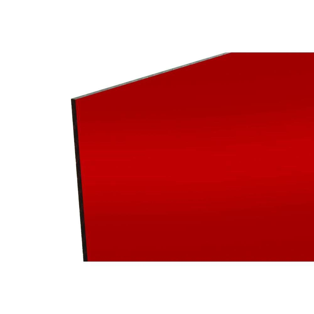 48 in. x 96 in. x .118 in. Red Acrylic Mirror