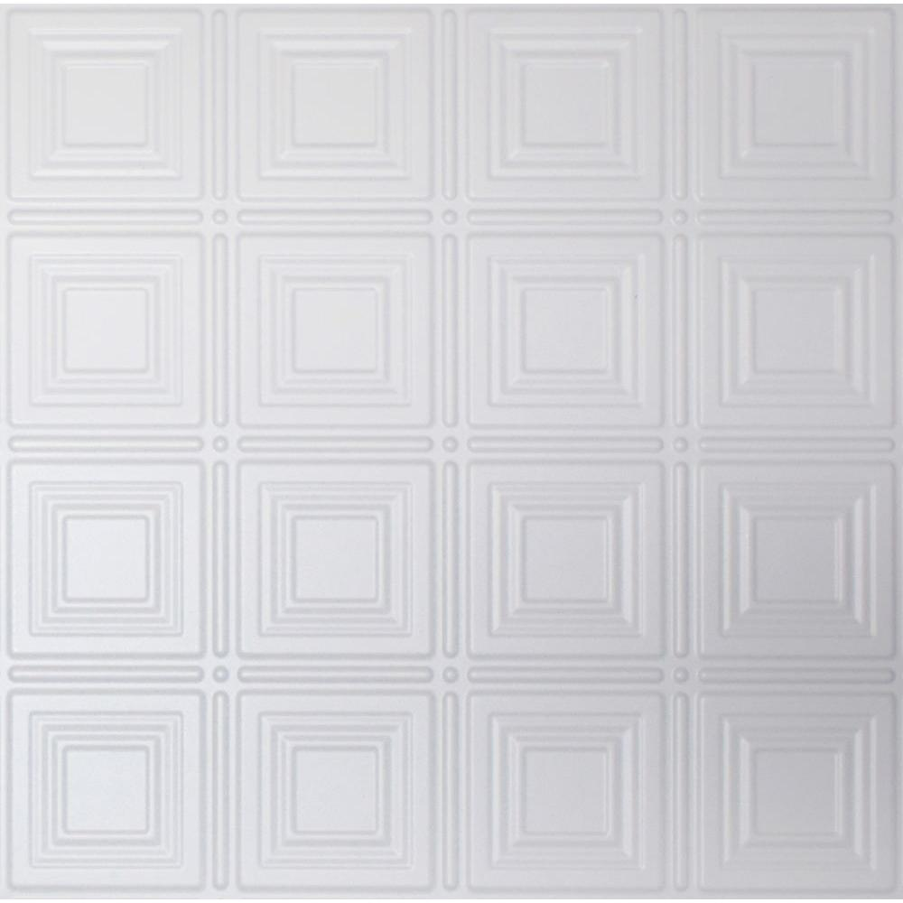 Dimensions 2 ft. x 2 ft. White Tin Ceiling Tile for Refacing in T-Grid Systems