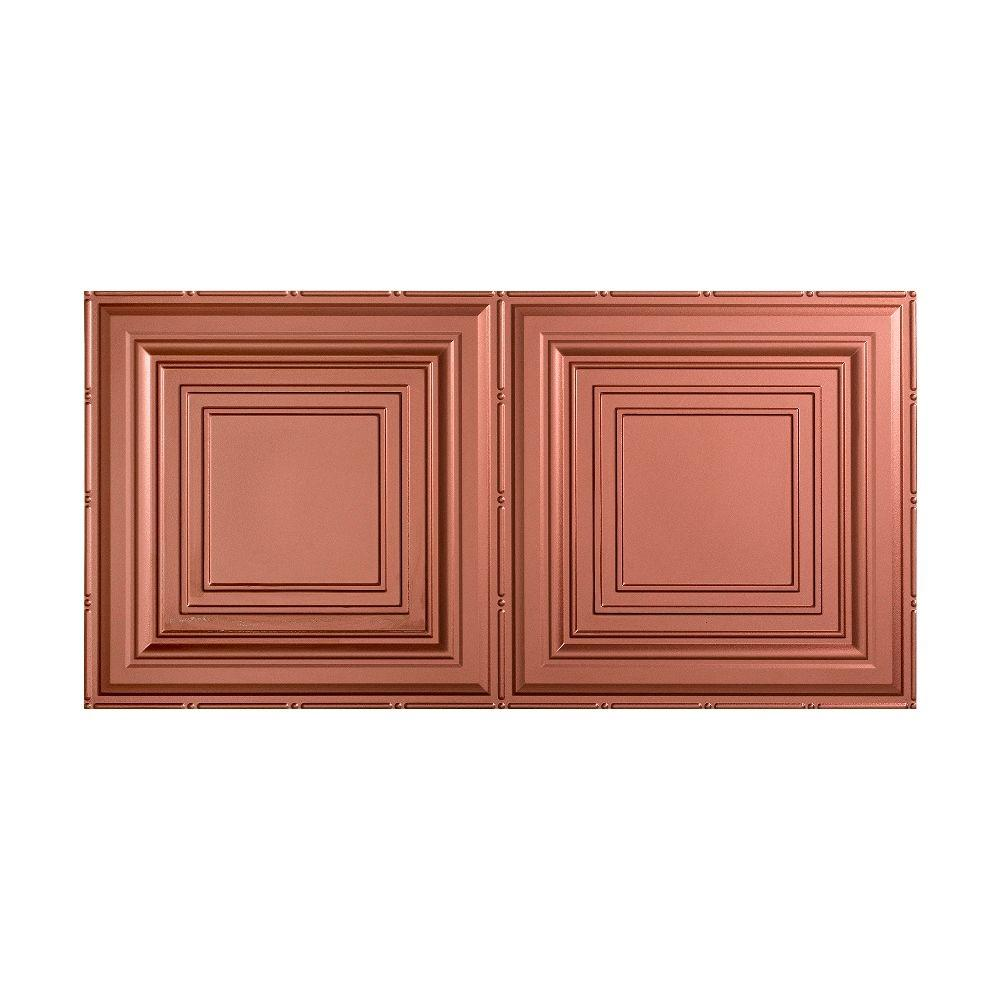 Traditional 3 - 2 ft. x 4 ft. Glue-up Ceiling Tile in Argent Copper