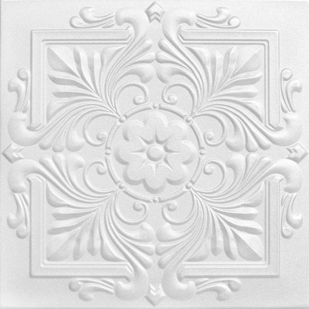 Victorian 1.6 ft. x 1.6 ft. Foam Glue-up Ceiling Tile in Plain White (21.6 sq. ft. / case)