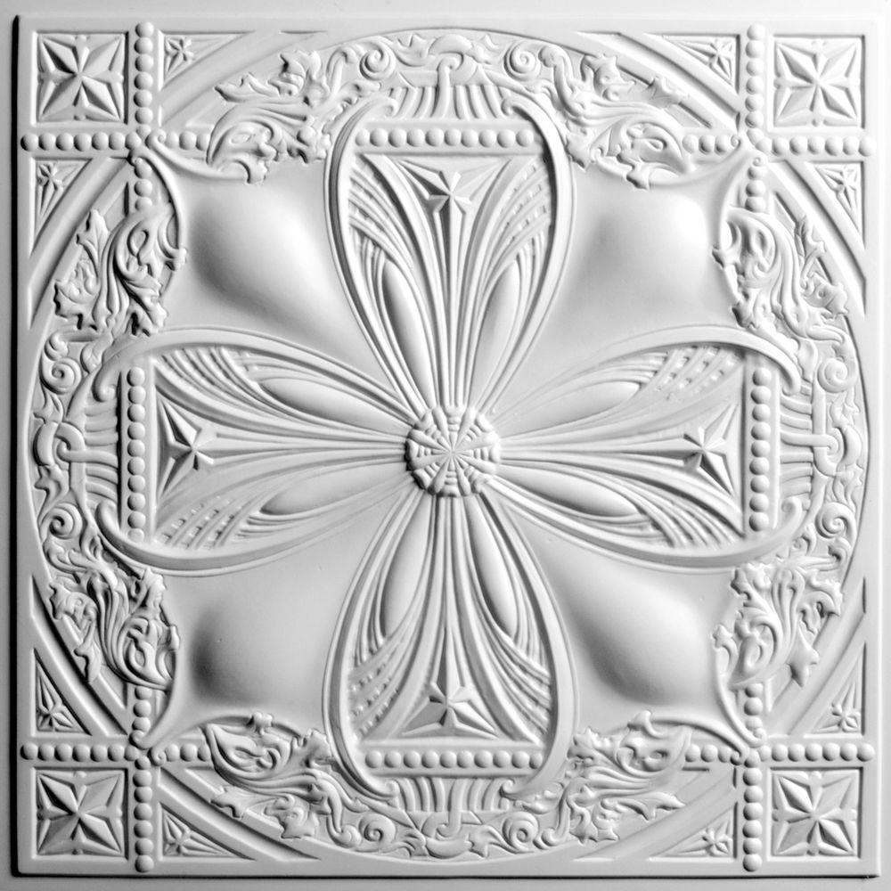 Avalon White 2 ft. x 2 ft. Lay-in or Glue-up Ceiling Panel (Case of 6)