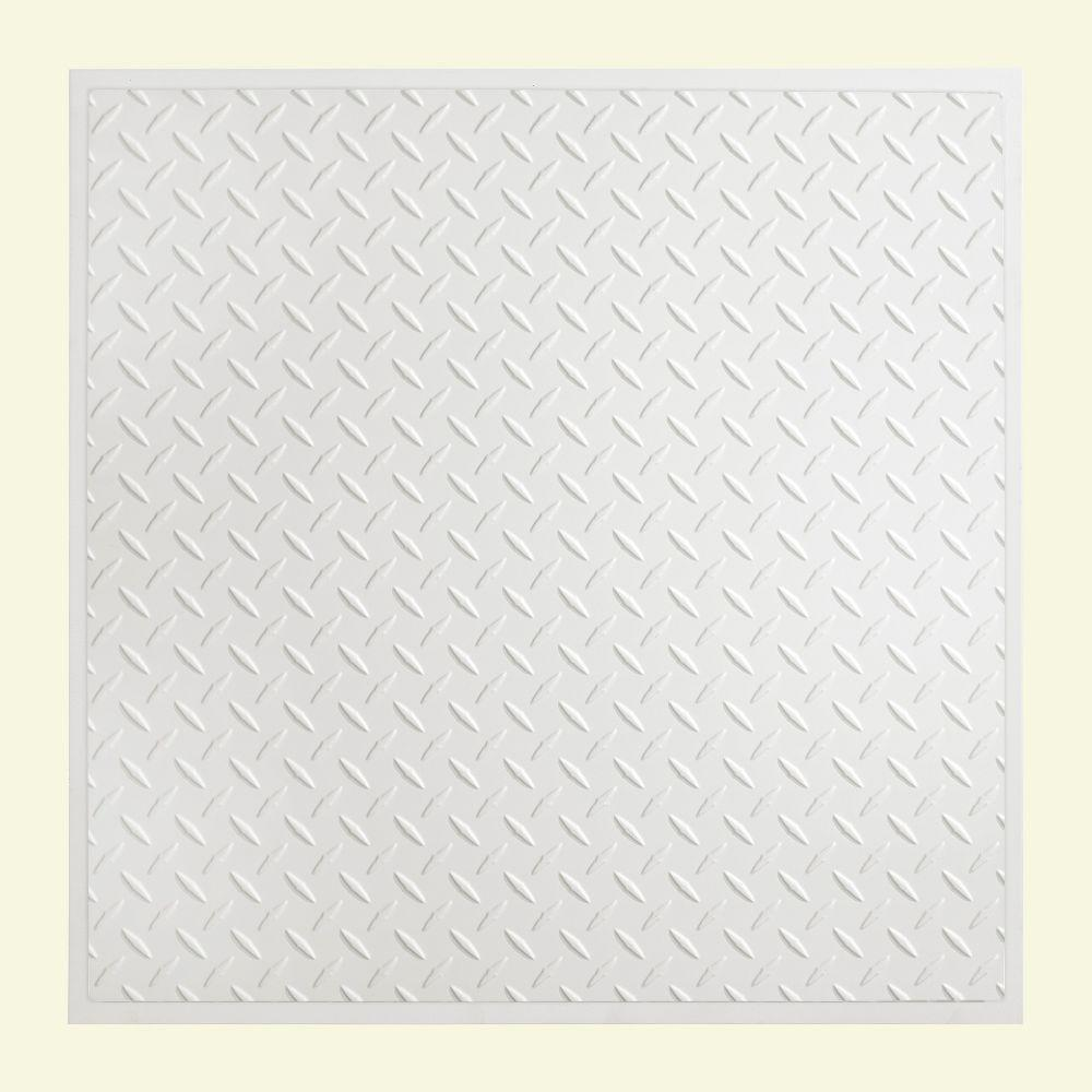 Diamond Plate 2 ft. x 2 ft. Revealed Edge Lay-in Ceiling Tile in Matte White