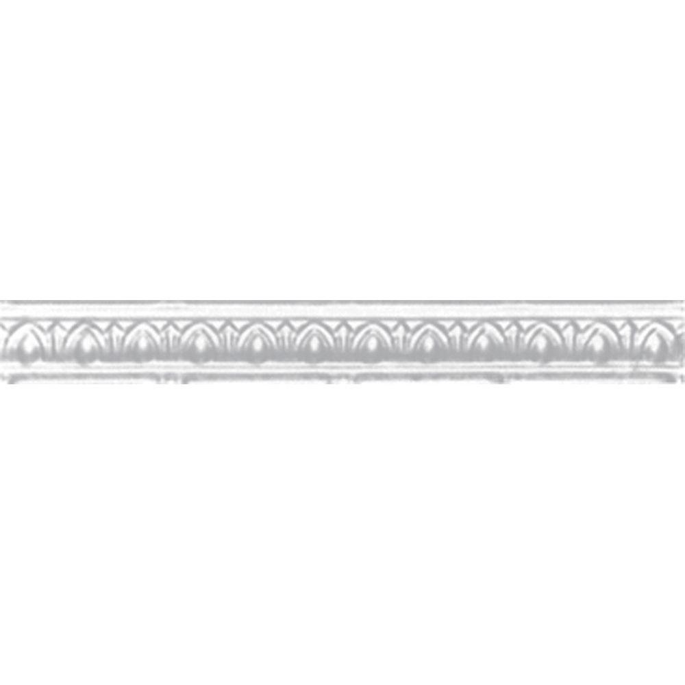 2 in. x 4 ft. x 2 in. Nail-up/Direct Application Tin Ceiling Cornice in Powder-Coated White (6-Pack)